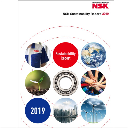The NSK Sustainability Report discloses the company's relationship with the environment and society