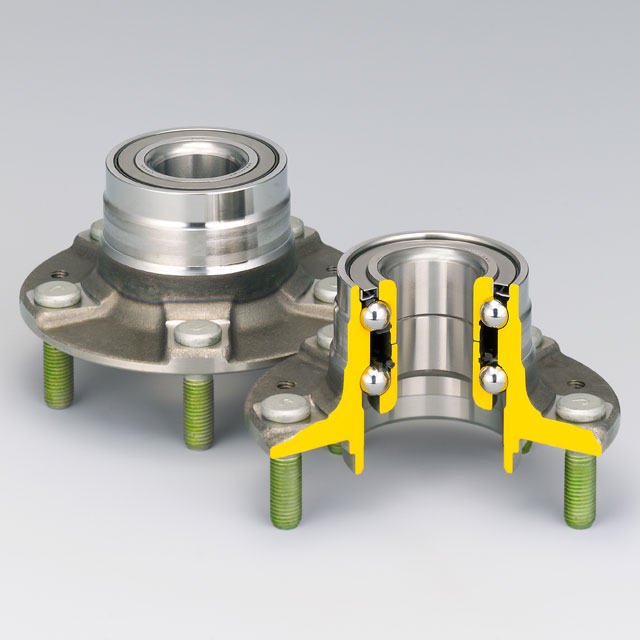 Double-Row Angular Contact Ball Bearings with Outer Mounting Flange (HUB II for Outer Ring Rotation Type)