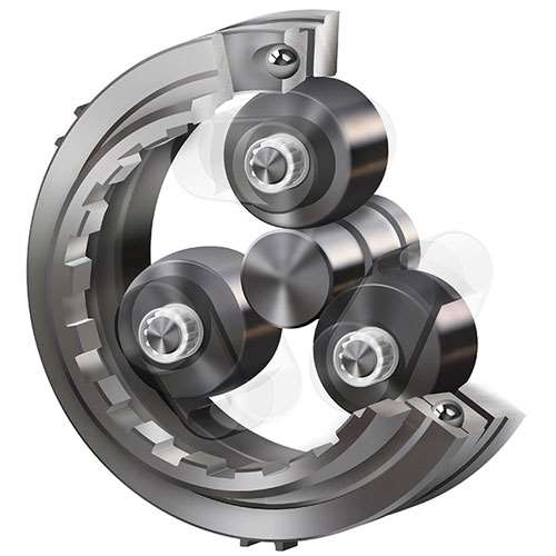 1)	NSK's EV drive system features deep groove ball bearings for use at high speeds